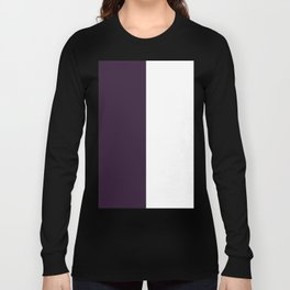 White and Dark Purple Vertical Halves Long Sleeve T-shirt