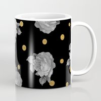 gold dots Mugs featuring Roses and Gold Dots by Sandra Arduini