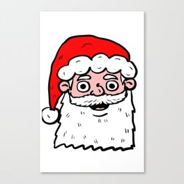 Cartoon Santa Face Canvas Print