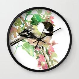 Chickadee and spring blossom Wall Clock