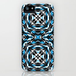 Blue Black and white Geomtric iPhone Case