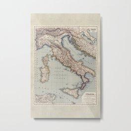 Bella Italia Vintage Map Of Italy Metal Print