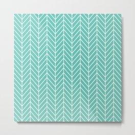 Turquoise Herringbone Pattern Metal Print
