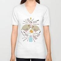 cooking V-neck T-shirts featuring Cooking Birds by April Yim