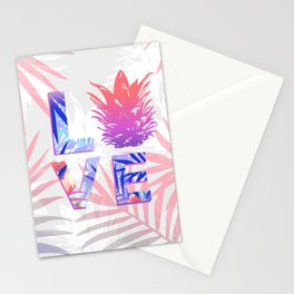 Love Pineapple Typography Tropical Boho Summer Vibes Stationery Cards