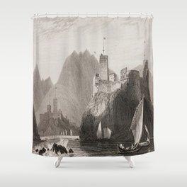 Al Jalali & Al Mirani Forts Muscat Oman Black & White Shower Curtain
