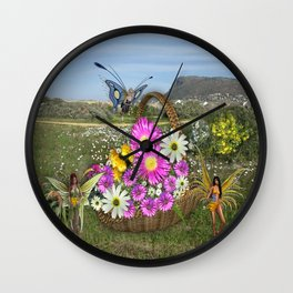 Spring basket gatherers Wall Clock
