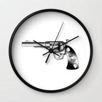 gun Wall Clocks featuring Gun by nohholmez