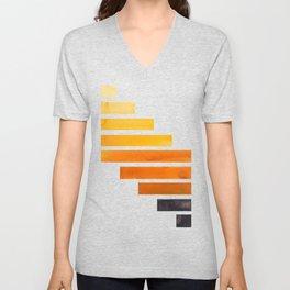 Orange Yellow Ocre Midcentury Modern Minimalist Staggered Stripes Rectangle Geometric Pattern Waterc Unisex V-Neck