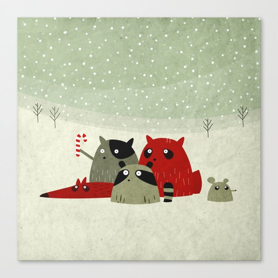 Guilty dudes in the snow Canvas Print