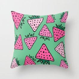 strawberry green Throw Pillow