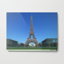 Paris Eiffel tower black and white with color Metal Print