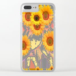 MODERN ART YELLOW SUNFLOWERS  GREY ABSTRACT Clear iPhone Case
