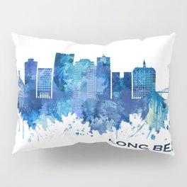 Long Beach California Skyline Blue Pillow Sham