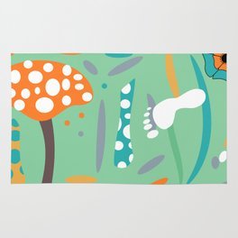 Playful mushroom and flowers Rug