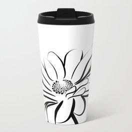 Gerbera Daisy Black & White Print 2 Metal Travel Mug
