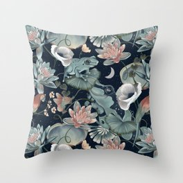Tropical flora and fauna by night Throw Pillow