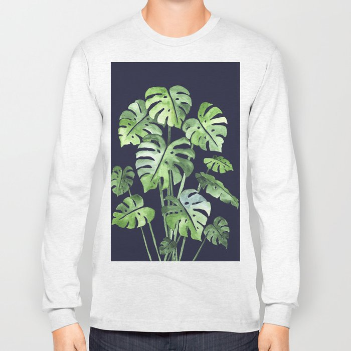 Delicate Monstera Blue #society6 Long Sleeve T-shirt