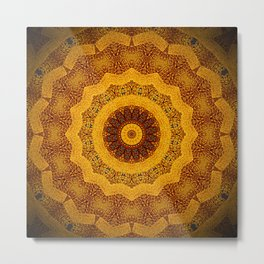Bright Gold and Brown Mandala Metal Print