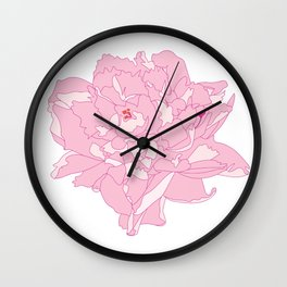 Pink and White Peony Flower Summer Garden Illustrated Print Wall Clock