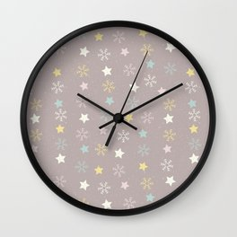 Pastel brown pink yellow Christmas snow flakes stars pattern Wall Clock