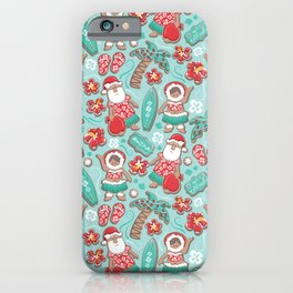 Mele Kalikimaka Hawaiian Christmas gingerbread cookies // aqua background iPhone Case