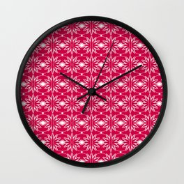 Red & White Pattern Wall Clock