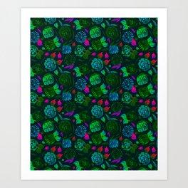 Watercolor Floral Garden in Electric Black Velvet Art Print
