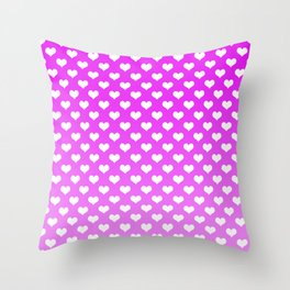 Light Pink Gradient White Hearts Throw Pillow