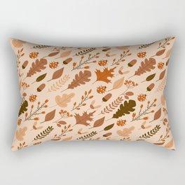 Autumn Leaves and Ladybugs Pattern Light Rectangular Pillow