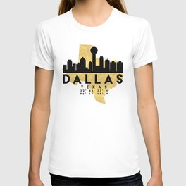 DALLAS TEXAS SILHOUETTE SKYLINE MAP ART T-shirt