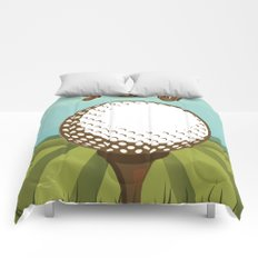 Golf vintage style travel poster Comforters