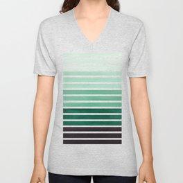 Watercolor Gouache Mid Century Modern Minimalist Colorful Deep Green Stripes Unisex V-Neck