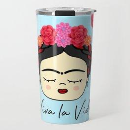 Viva la Frida, artist, flowered Travel Mug