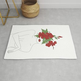 Minimal Line Art Woman with Hibiscus Rug
