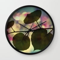 sia Wall Clocks featuring Kiwi leaves by Angela Bruno