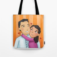 dad Tote Bags featuring dad by Grisi Fernandez Minor