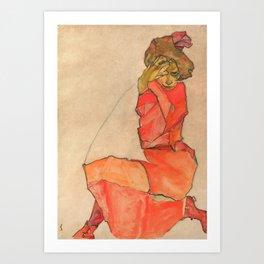 "Egon Schiele ""Kneeling Female in Orange-Red Dress"" Art Print"