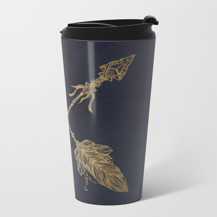 Arrows Gold Copper Bronze on Navy Blue Metal Travel Mug