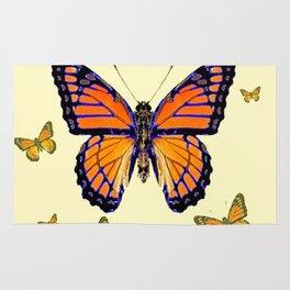 SPRING FLYING ORANGE MONARCH BUTTERFLIES ON CREAM Rug