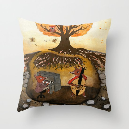 Fox Jam  Throw Pillow