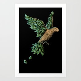 Wood Bird Art Print