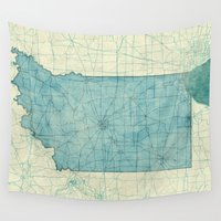 indiana Wall Tapestries featuring Indiana State Map Blue Vintage by City Art Posters