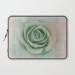 Elegant Painterly Mint Green Rose Abstract Laptop Sleeve