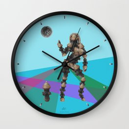 Sexy pump 1. On multicolored background. (Predominance of light blue) Wall Clock