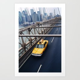New York Cab with Twin Towers in background over Brooklyn Bridge Art Print