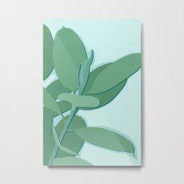 Minimal Rubber Tree Leaves - Greener Eden Metal Print