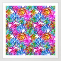 roses Art Prints featuring Roses by Aloke Design