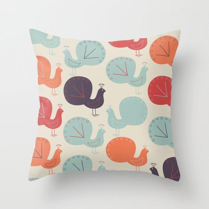 Peacock Pattern Throw Pillow