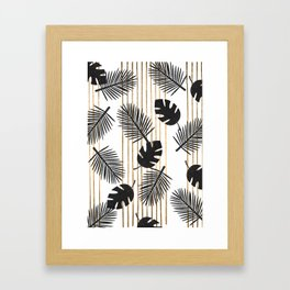 chic black glitter palms on white with golden stripes Framed Art Print
